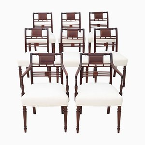 Antique Georgian Inlaid Mahogany Dining Chairs, 1800s, Set of 8