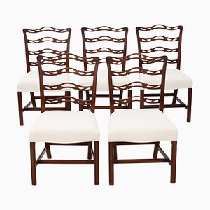 Antique Georgian Style Mahogany Dining Chairs, 1900s, Set of 5