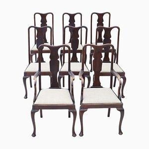 Antike Queen Anne Esszimmerstühle aus Mahagoni, 8er Set
