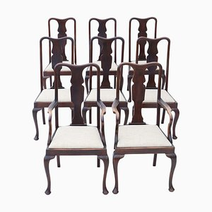 Antique Queen Anne Style Mahogany Dining Chairs, Set of 8