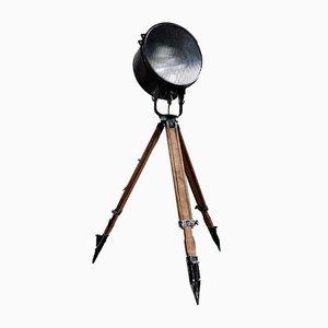 Lámpara de pie trípode industrial vintage, años 70