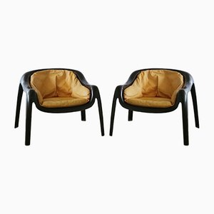 Space Age Fiberglass Lounge Chairs, 1960s, Set of 2