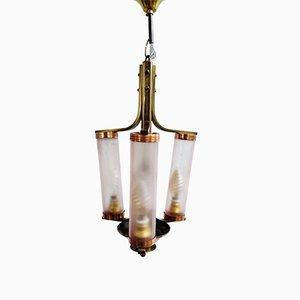 Lámpara de araña Bauhaus de cobre y vidrio rosa, años 20