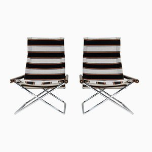 Mid-Century Italian Folding Deck Chairs by Takeshi Nii for Jox interni, Set of 2
