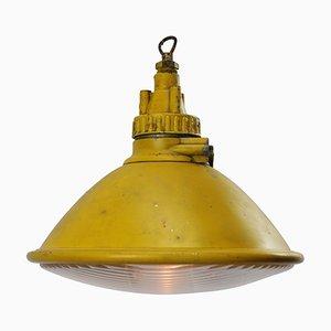 Lampe à Suspension Industrielle Vintage en Métal Jaune et Verre Transparent de Philips