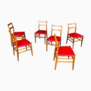 Ash and Red Faux Leather Model Leggera Dining Chairs by Gio Ponti for Cassina, 1950s, Set of 6