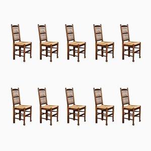Esszimmerstühle mit Spindellehne, 10er Set