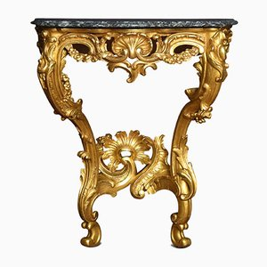 Rococo Style Giltwood and Marble Console Table