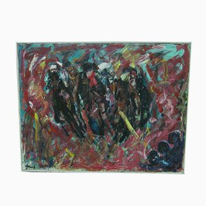Large Expressionist Style Oil Painting by Alf Eklund, 1970s