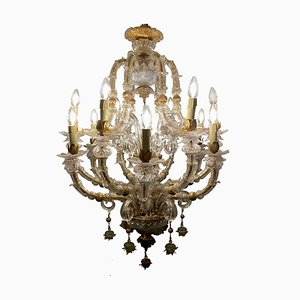 Vintage Baroque Style Gold and Murano Glass Chandelier, 1930s