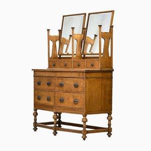 Tocador Arts & Crafts antiguo de roble dorado