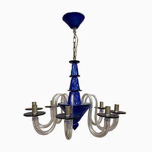 Italian Art Deco Style Murano 8-Light Chandelier by La Murrina, 1980s