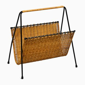 Mid-Century Rattan and Metal Magazine Rack, 1950s