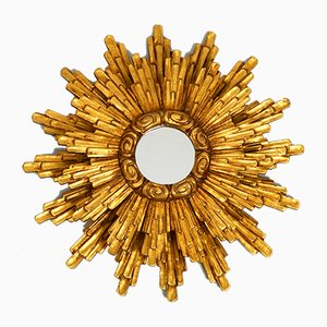 Large Mid-Century Italian Giltwood Illuminated Sunburst Wall Mirror, 1950s