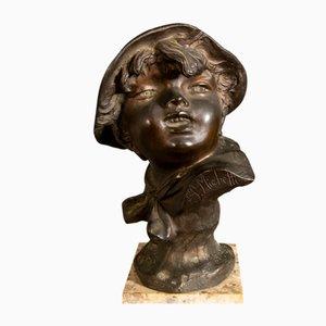 Sculpture Antique en Bronze et Marbre par Francesco Paolo Michetti