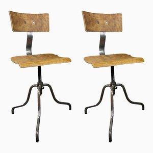 Chaises Pivotantes Industrielles Mid-Century, 1950s, Set de 2