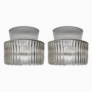 Clear Glass and Porcelain Sconces, 1960s, Set of 2