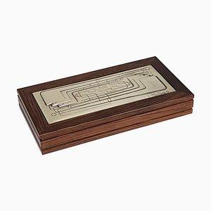 Italian Rosewood & Silver Box by Ottaviani, 1976