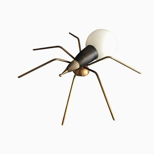 Italian Brass and Frosted Glass Spider Sconce, 1960s