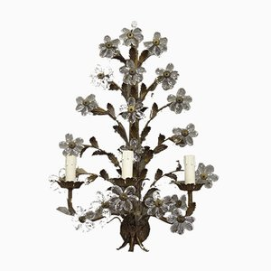 Mid-Century French Wrought Iron and Cut Glass Sconce