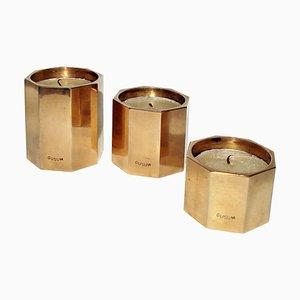 Skandinavische Kerzenhalter aus Messing von Gusum, 1950er, 3er Set