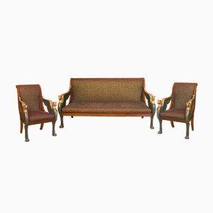 Empire French Armchairs and Settee Set
