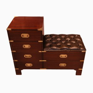 Mahogany and Brass Military Campaign Chest, 1960s