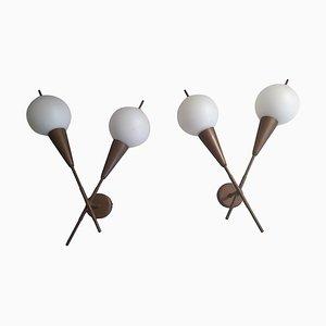 Apliques Sputnik italianos de vidrio y latón, años 50. Juego de 2