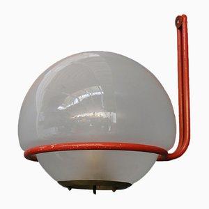 Aplique de aluminio rojo y vidrio de Gino Sarfatti para Arteluce, años 50