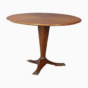 Mesa de comedor Mid-Century de madera y latón de Ico Parisi, años 50