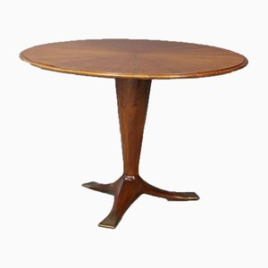 Mid-Century Wood and Brass Dining Table by Ico Parisi, 1950s