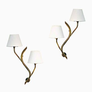 Norwegian Brass Wall Lights from Astra, 1956, Set of 2