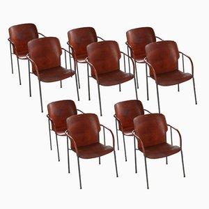 Lalanda Esszimmerstühle aus Leder von Gianfranco Frattini, 1980er, 10er Set