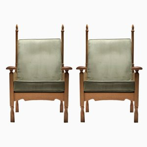 Oak Throne Lounge Chairs, 1950s, Set of 2