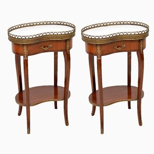 Vintage French Marble Top Kidney Side Tables, 1930s, Set of 2