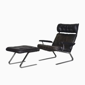 Brutalist German Leather Lounge Chair and Ottoman Set, 1960s