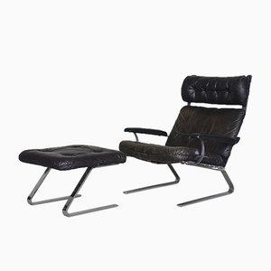 Brutalistisches deutsches Sessel & Fußhocker Set aus Leder, 1960er