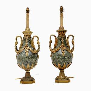 Lámparas de mesa francesas antiguas de mármol y metal dorado. Juego de 2