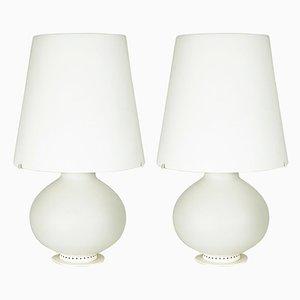 Lámparas de mesa de metal y vidrio lechoso de Max Ingrand para Fontana Arte, años 60. Juego de 2