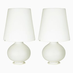 Metal & Milk Glass Table Lamps by Max Ingrand for Fontana Arte, 1960s, Set of 2