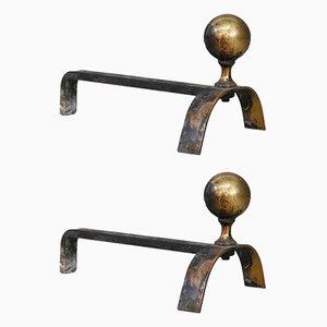Morillos Mid-Century de latón y hierro de Luigi Caccia Dominioni. Juego de 2