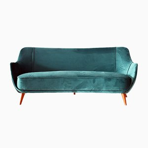 Italian Velvet, Wood & Brass Sofa, 1950s