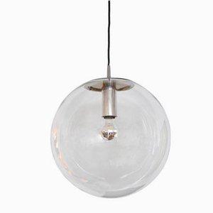 Lampada da soffitto in vetro trasparente di Peill & Putzler, anni '60