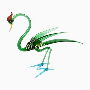 Dekorative italienische Vogel Figur aus Muranoglas, 1960er