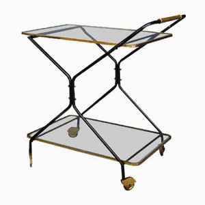 Mid-Century Italian Brass and Iron Trolley