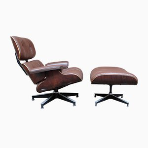 Vintage Rosewood Model 670 Lounge Chair and Model 671 Ottoman Set by Charles & Ray Eames for Herman Miller, 1960s