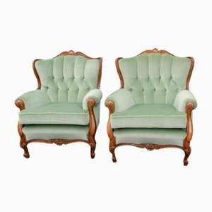 Walnut Armchairs, 1940s, Set of 2