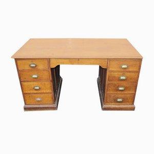 Large Solid Pine and Oak Pedestal Desk, 1920s