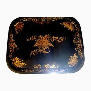Antikes französisches Napoleon III Tablett mit goldenen Verzierungen, 1850er