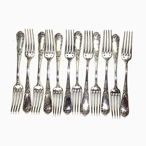 Antique Solid Silver Forks, 1900s, Set of 12